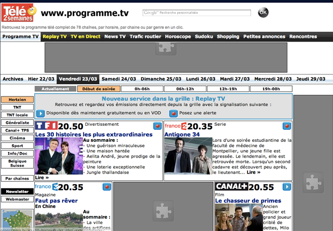 French TV guide website.