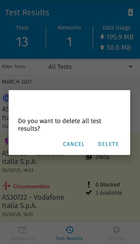 Delete all tests