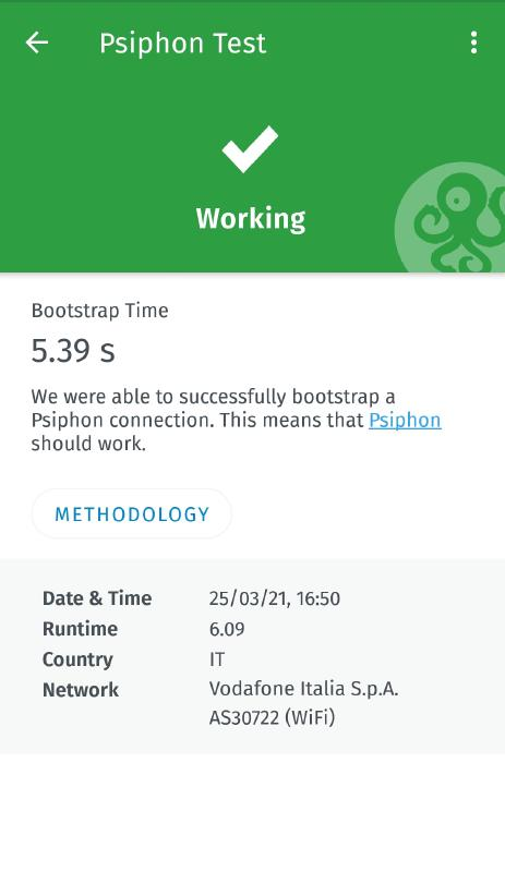 Psiphon test result page