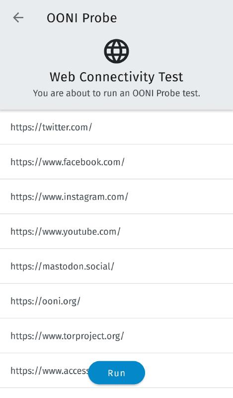 OONI Run page mobile